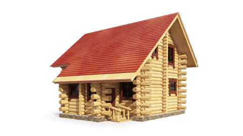 Animated construction of log house Animation