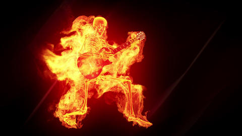 Fiery skeleton with a guitar Stock Video Footage