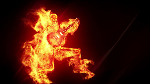 Fiery skeleton with a guitar Animation