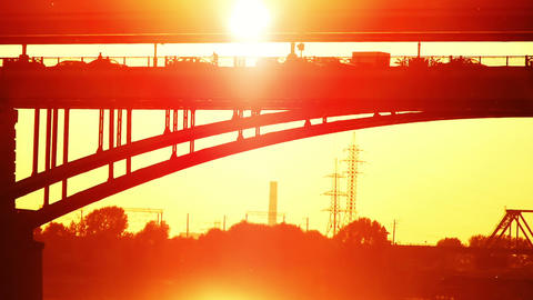 two bridges at a sunset Stock Video Footage