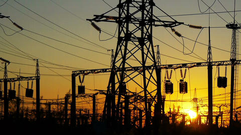 Electricity power station at a sunset Stock Video Footage