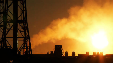 Ironworks silhouette at a sunset Stock Video Footage
