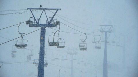 heavy snow on ski resort Stock Video Footage