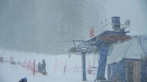 heavy snow on ski resort Stock Video Footage