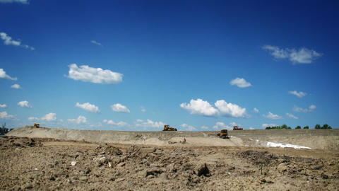 Bulldozers at work, time lapse Stock Video Footage