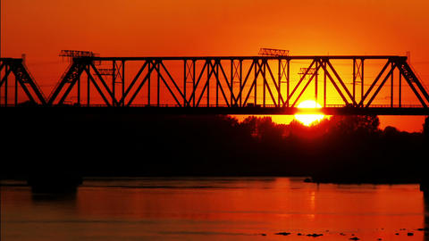 railway bridge at sunset Stock Video Footage