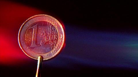 10641 crisis euro glowing in fireball wide Stock Video Footage
