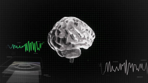 white 3d brain wave scanning screen Stock Video Footage
