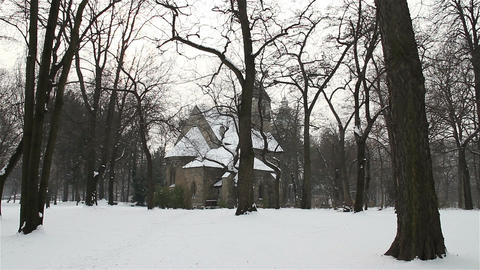 Church in Winter Forest 01 Stock Video Footage