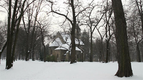 Church in Winter Forest 01 Footage