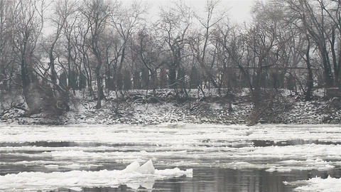 Ice on River 07 Stock Video Footage