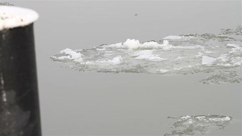 Ice on River 13 dock Stock Video Footage