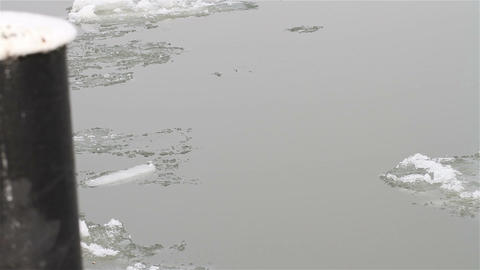 Ice on River 13 dock Footage