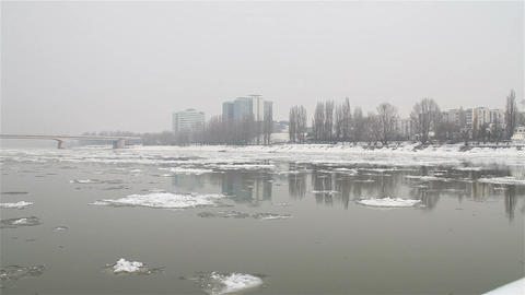 Ice on River 15 city Footage