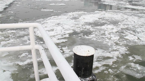 Ice on River 18 dock Stock Video Footage