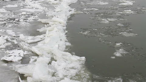 Ice on River 20 Footage