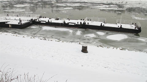 Ice on River 22 dock Stock Video Footage