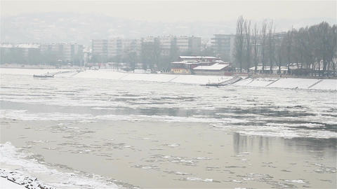 Ice on River 26 city Footage