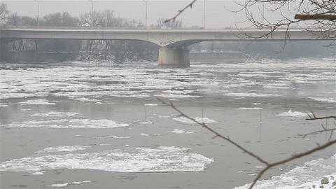 Ice on River 28 bridge Stock Video Footage