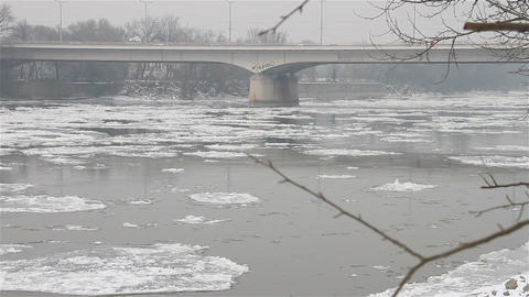 Ice on River 28 bridge Footage