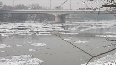 Ice on River 28 bridge Stock Video Footage