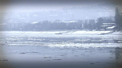 Ice on River 34 city stylized Stock Video Footage