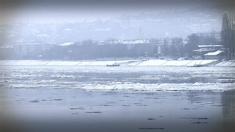 Ice on River 34 city stylized Footage