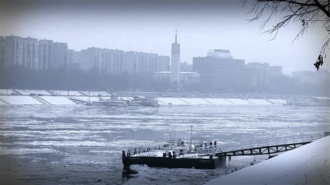 Ice on River 37 stylized Stock Video Footage