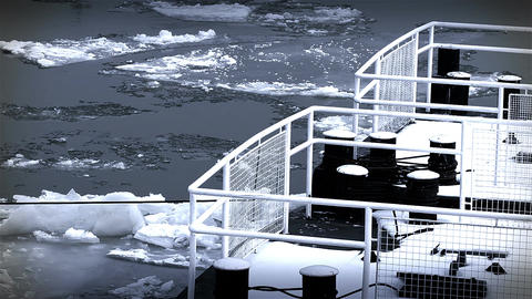 Ice on River 40 dock stylized Footage