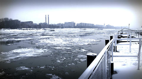 Ice on River 42 city dock stylized Stock Video Footage