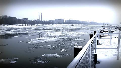 Ice on River 42 city dock stylized Footage