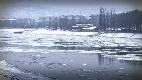 Ice on River 44 city stylized Stock Video Footage
