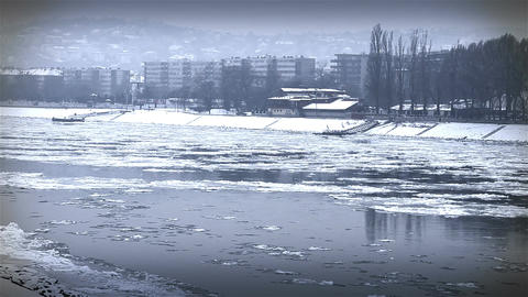 Ice on River 44 city stylized Footage