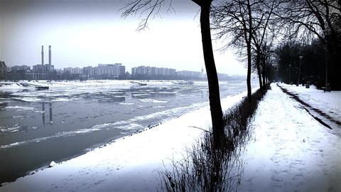 Ice on River 45 city stylized Stock Video Footage