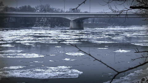 Ice on River 46 bridge stylized Stock Video Footage