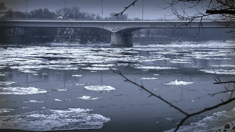 Ice on River 46 bridge stylized Footage
