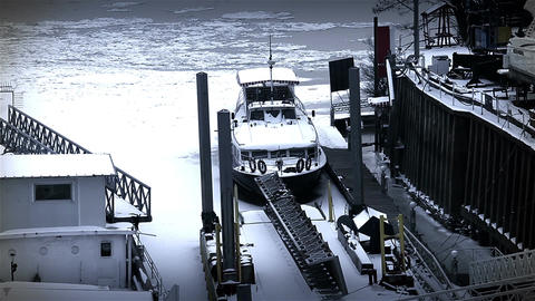 Ice on River 50 shipyard dock stylized Stock Video Footage