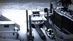 Ice on River 50 shipyard dock stylized Stock Video Footage
