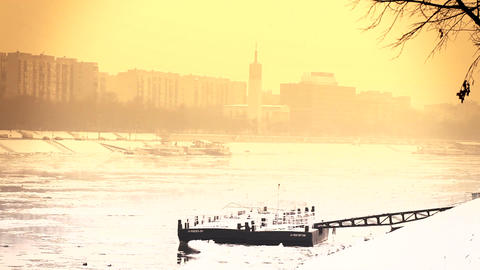 Ice on River 54 city stylized Stock Video Footage