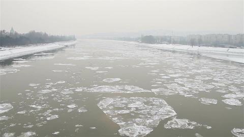 Ice on River 55 bridge stylized Stock Video Footage
