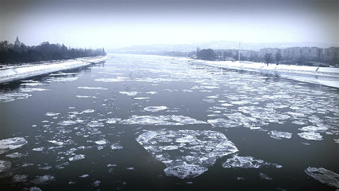 Ice on River Dramatic Scene 29 city Stock Video Footage