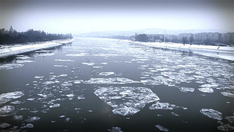 Ice on River Dramatic Scene 29 city Footage
