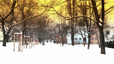 Snowy Suburb 18 stylized Stock Video Footage