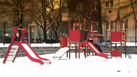 Snowy Suburb 20 playground stylized Stock Video Footage
