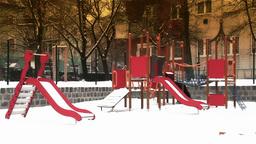 Snowy Suburb 20 playground stylized Stock Video Footage