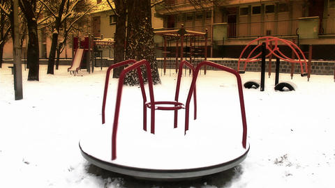Snowy Suburb 22 playground stylized Stock Video Footage