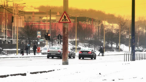 Snowy Suburb 24 traffic stylized Stock Video Footage