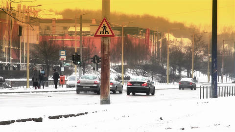 Snowy Suburb 24 traffic stylized Footage