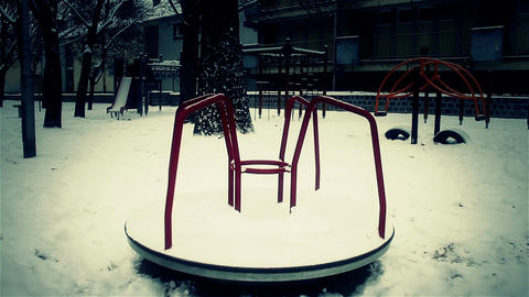 Snowy Suburb 26 playground stylized scary Stock Video Footage