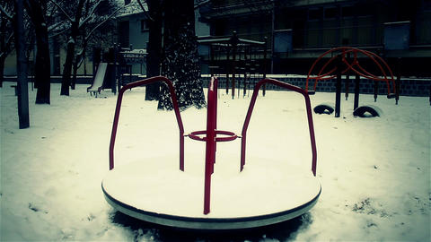 Snowy Suburb 26 playground stylized scary Footage